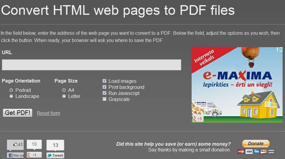 Kā konvertēt mājas lapu PDF formātā?